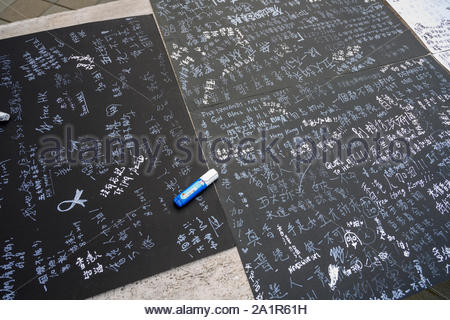 Tamar, Admiratly, Hong Kong, September 29 2019.  The fifth anniversary of the umbrella revolution. Tens of thousands gathered at Tamar for a rally to mark the beginning of the Occupy movement five years ago. Messages found around the government buildings at Tamar at the anniversary event. - Stock Photo