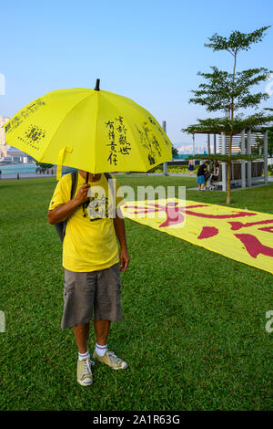 Tamar, Admiratly, Hong Kong, September 29 2019.  The fifth anniversary of the umbrella revolution. Tens of thousands gathered at Tamar for a rally to mark the beginning of the Occupy movement five years ago. - Stock Photo