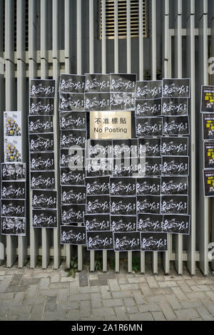 Tamar, Admiratly, Hong Kong, September 29 2019.  The fifth anniversary of the umbrella revolution. Tens of thousands gathered at Tamar for a rally to mark the beginning of the Occupy movement five years ago. Messages found around the governement buildings at Tamar at the anniversary event. - Stock Photo