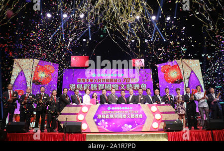 Hong Kong, China. 28th Sep, 2019. Guests attend a gala in celebration of the 70th anniversary of the founding of the People's Republic of China (PRC) held in Hong Kong, south China, Sept. 28, 2019. Credit: Wu Xiaochu/Xinhua/Alamy Live News - Stock Photo