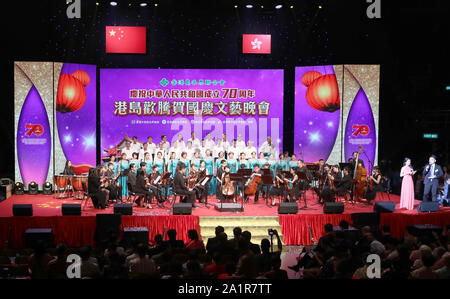 Hong Kong, China. 28th Sep, 2019. Artists perform on stage during a gala in celebration of the 70th anniversary of the founding of the People's Republic of China (PRC) held in Hong Kong, south China, Sept. 28, 2019. Credit: Wu Xiaochu/Xinhua/Alamy Live News - Stock Photo