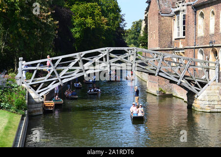 Cambridge, UK - August 24, 2019: Mathematical bridge in Cambridge, Great Britain - Stock Photo