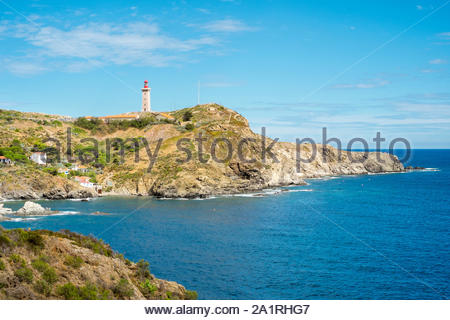 Lighthouse at Cap Bear, Port-Vendres, Pyrénées-Orientales, Languedoc-Roussillon, France - Stock Photo