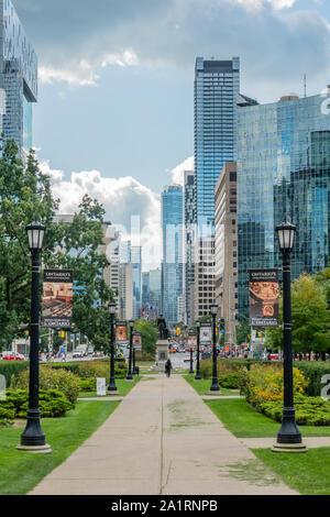 View towards University Avanue from Queens park in Toronto Ontario canada. - Stock Photo