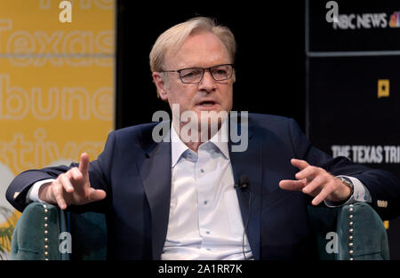 Austin, Texas, USA. 28th Sep, 2019. LAWRENCE O'DONNELL moderates a discussion on the final day of the three-day Texas Tribune Festival, an annual politics and policy colloquy. Credit: Brian Cahn/ZUMA Wire/Alamy Live News - Stock Photo
