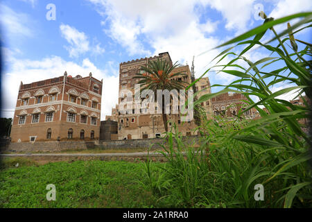 A view of the old building city of the Yemeni capital Sanaa on September 28, 2019. - Stock Photo