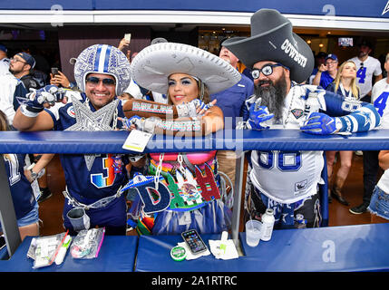 Sep 22, 2019: Dallas Cowboys fans dress up during an NFL game between the Miami Dolphins and the Dallas Cowboys at AT&T Stadium in Arlington, TX Dallas defeated Miami 31-6 Albert Pena/CSM - Stock Photo