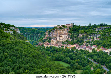 Rocamadour, pilgrimage town along El Camino de Santiago, Lot Department, Midi-Pyrénées, France - Stock Photo