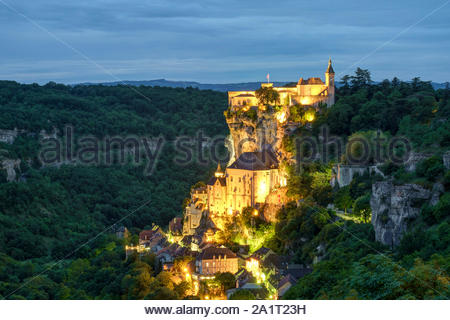 Rocamadour, pilgrimage town along El Camino de Santiago at night, Lot Department, Midi-Pyrénées, France - Stock Photo