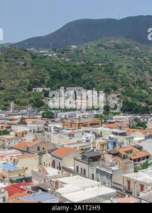 Lipari located at a island named Lipari, the largest of the Aeolian Islands in the Tyrrhenian Sea near Sicily in Italy - Stock Photo
