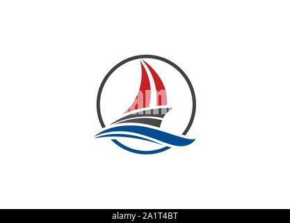 Cruise ship Logo Template vector icon illustration design, Ship logo, nautical sailing boat icon vector design, Sailing boat icon symbol, - Stock Photo