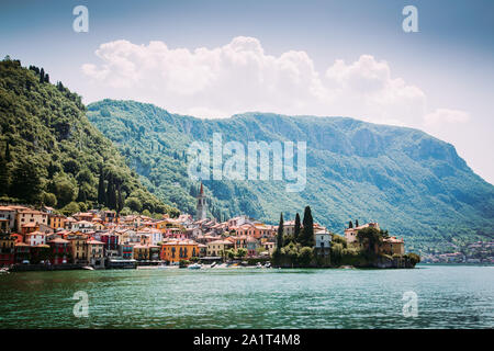 Filtered image of Varenna town seen from Como Lake, Italy