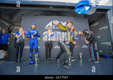 Austin, USA. 28th Sep, 2019. September 28, 2019: Tanner Foust #34 (Center) with team Andretti Rallycross celebrates his win at ARX Americas Rallycross, Circuit of the Americas. Austin, Texas. Credit: Cal Sport Media/Alamy Live News - Stock Photo
