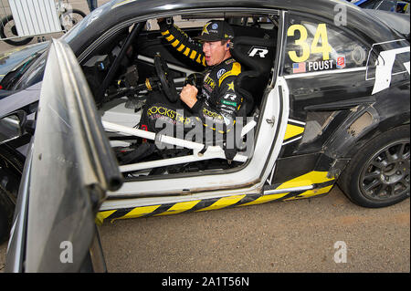 Austin, USA. 28th Sep, 2019. September 28, 2019: Tanner Foust #34 with team Andretti Rallycross celebrates his win at ARX Americas Rallycross, Circuit of the Americas. Austin, Texas. Credit: Cal Sport Media/Alamy Live News - Stock Photo