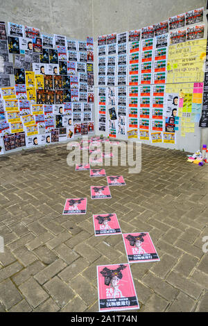 Tamar, Admiratly, Hong Kong, September 29 2019.  The fifth anniversary of the umbrella revolution. Tens of thousands gathered at Tamar for a rally to mark the beginning of the Occupy movement five years ago. Posters at the event. - Stock Photo