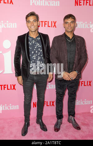 NEW YORK, NY - SEPTEMBER 26: Trevor Eason and Trey Eason attend the premiere of Netflix's 'The Politician' at DGA Theater on September 26, 2019 in New - Stock Photo