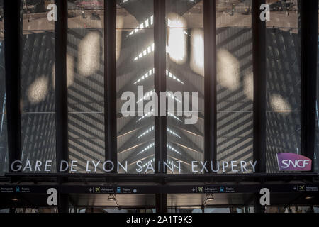 LYON, FRANCE - JULY 13, 2019: Lyon Saint Exupery Airport Train station main entrance with the logo of French Railways, SNCF. It is the station connect - Stock Photo