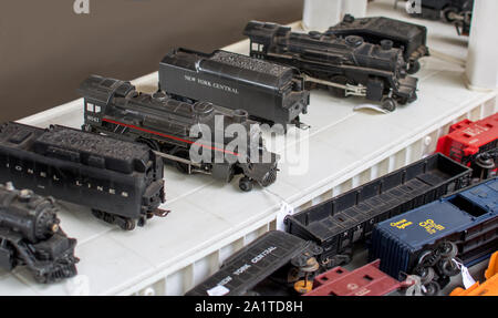 Hesston IN USA ,August 31 2019; small train cars are on sale during the labor day event at the Hesston train museum in Indiana - Stock Photo