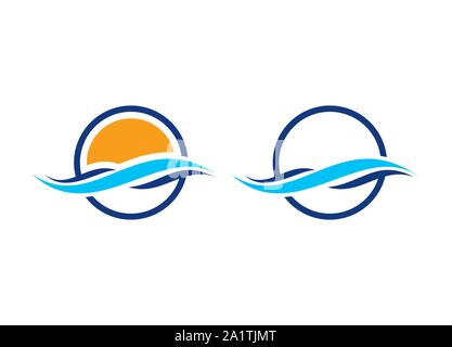 wave logo vector water sea ocean flows blue download, Wave vector symbol. Business Icon. Water wave logo design template, water drop, Water wave - Stock Photo
