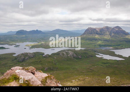 View across Loch Lurgainn from summit of Stac Pollaidh, Assynt, NW Scotland - Stock Photo