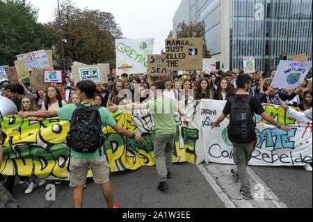 Milan (Italy), 27 September 2019, third 'Global Strike for Future', youth and student demonstration, in protest against climate change and global warming