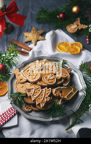 Christmas gingerbread cookies on plate - Stock Photo