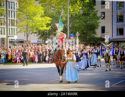 MUNICH, GERMANY - SEPTEMBER 22, 2019 Grand entry of the Oktoberfest landlords and breweries, festive parade of magnificent decorated carriages and ban