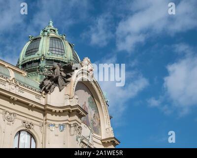 Exterior section of Municipal House, Prague, Czech Republic, a historic art nouveau building located in the Old Town, Prague. - Stock Photo