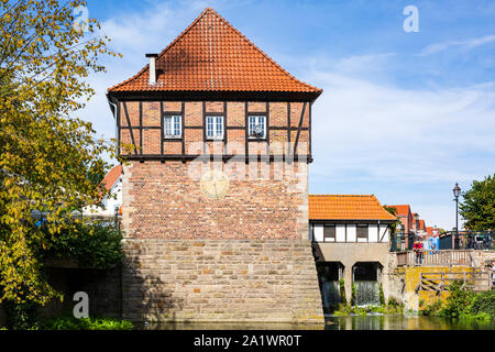 D-Luedinghausen, Stever, Muensterland, Westphalia, North Rhine-Westphalia, NRW, Borgmuehle, Borg Mill at the Stever, Muehlenstever, water mill - Stock Photo