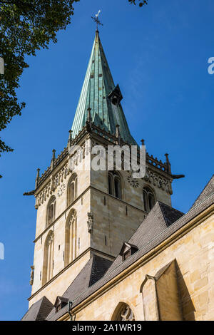 D-Luedinghausen, Stever, Muensterland, Westphalia, North Rhine-Westphalia, NRW, Felizitas Church, catholic parish church Saint Felizitas, church tower, western tower, Late Gothic - Stock Photo