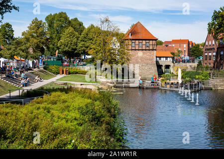 D-Luedinghausen, Stever, Muensterland, Westphalia, North Rhine-Westphalia, NRW, Borgmuehle, Borg Mill at the Stever, Muehlenstever, water mill, pond, park, exterior staircase, stone stairs, people, tourists - Stock Photo