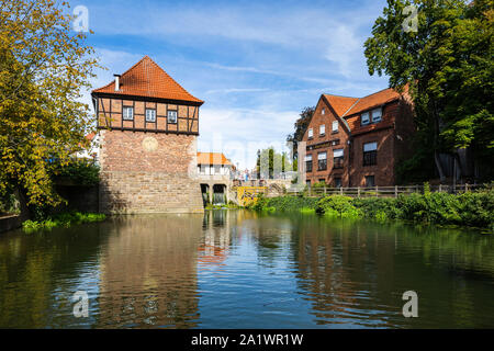 D-Luedinghausen, Stever, Muensterland, Westphalia, North Rhine-Westphalia, NRW, Borgmuehle, Borg Mill at the Stever, Muehlenstever, water mill, pond - Stock Photo