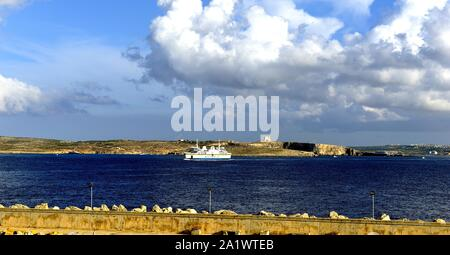 Gozo, Malta - 8th October 2018:TaPinu sailing into the port of Mgarr - Stock Photo