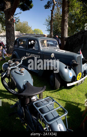 RAF vehicle and motorbike on display at The Goodwood Revival 14th Sept 2019 in Chichester, England.  Copyright  Michael Cole - Stock Photo