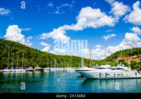 Skradin harbor on the Adriatic coast and Krka river in Croatia. Long wide banner - Stock Photo