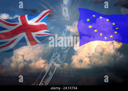 UK  and EU flags waving against blue sky background. Broken chain as brexit cocnept. 3D render. - Stock Photo