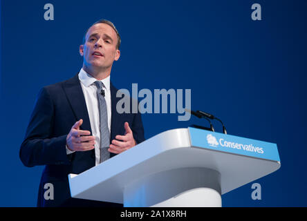 Manchester, UK. 29th September 2019. Dominic Raab, Secretary of State for Foreign and Commonwealth Affairs, First Secretary of State and MP for Esher and Walton speaks at day one of the Conservative Party Conference in Manchester. © Russell Hart/Alamy Live News. - Stock Photo
