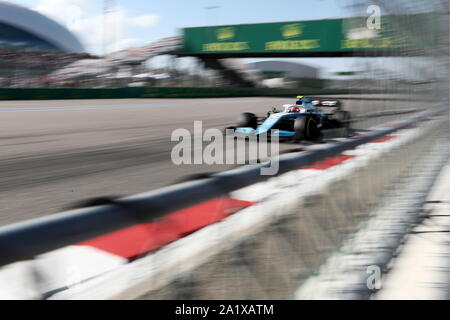 Sochi, Russia. 29th Sep, 2019. SOCHI, RUSSIA - SEPTEMBER 29, 2019: ROKiT Williams Racing F1 Team driver George Russell of the United Kingdom competes in the 2019 Formula One Russian Grand Prix race at the Sochi Autodrom racing circuit. Sergei Fadeichev/TASS Credit: ITAR-TASS News Agency/Alamy Live News - Stock Photo