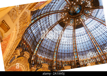 Paris, France - Sept 05, 2019: The glassroof of the Galeries Lafayette interior in Paris. The architect Georges Chedanne - Stock Photo