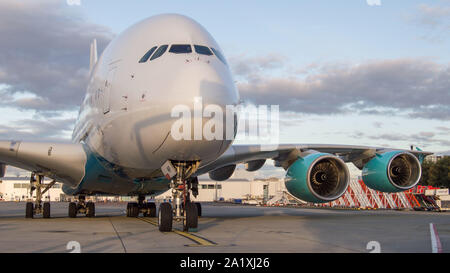 Glasgow, UK. 28 September 2019.  Pictured: Hi Fly Super Jumbo Airbus A380-800 seen on the tarmac awaiting refuelling before going to pick up more stranded passengers. Following the immediate fallout from the collapsed tour company Thomas Cook, Operation Matterhorn is still in full swing at Glasgow Airport. The grounded and impounded Thomas Cook aircraft have been moved to a quieter part of the airfield to make way for the wide body fleet needed for operation Matterhorn. Colin Fisher/CDFIMAGES.COM - Stock Photo