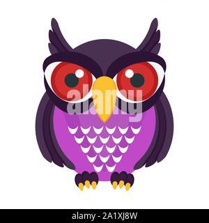 Evil owl with red eyes. Flat vector cartoon bird.