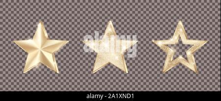 Set of golden stars with glitter. Christmas decoration element. Luxury elegant award - Star. Vector illustration isolated on transparent background - Stock Photo