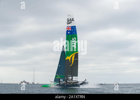 The Australia Team F50 catamaran in action. Race Day 3. The final SailGP event of Season 1 in Marseille, France - Stock Photo