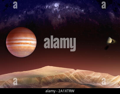Landscape in the mountains of Mars with a view of Jupiter and Saturn among the Milky Way. Textures for 3D render planet surfaces furnished by NASA - Stock Photo