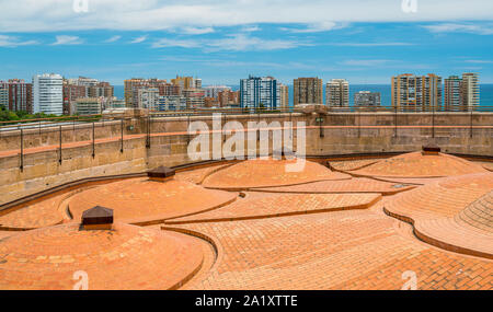 Panoramic sight in Malaga from the Cathedral roof. Andalusia, Spain. - Stock Photo