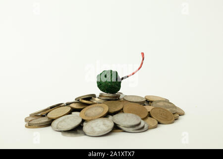Concept of Burning fireworks or firecrackers is equal to burning money concept on isolated background. - Stock Photo