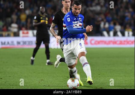 FEDERICONAZZOLI , SAMPDORIA,  during Sampdoria Vs Inter , Genova, Italy, 28 Sep 2019, Soccer Italian Soccer Serie A Men Championship - Stock Photo