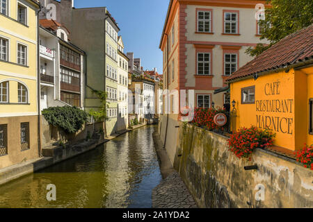 PRAGUE, CZECH REPUBLIC - JULY 2018: The Certovka, which is a narrow canal running through the Lesser Quarter of the Old Town in Prague. - Stock Photo