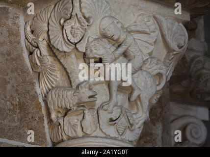 King David and the Lion depicted in the Romanesque capital dated from the 12th century in the Basilica of Saint Mary Magdalene (Basilique Sainte-Marie-Madeleine de Vézelay) of the Vézelay Abbey (Abbaye Sainte-Marie-Madeleine de Vézelay) in Vézelay, Burgundy, France. - Stock Photo