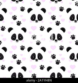 Vector flat design seamless pattern with cute baby panda face with pink hearts footprints ornament on white background. - Stock Photo